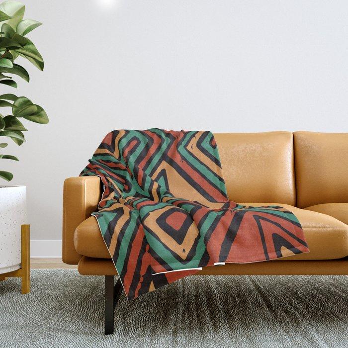 Red earth geometric pattern Throw Blanket