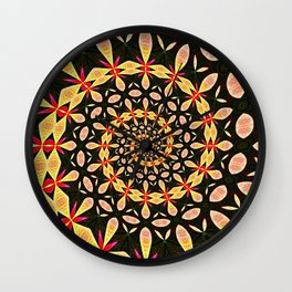 Dynamic, colorful, ornate, elegant spiral patterns of yellow and red designs on a black backdrop Wall Clock