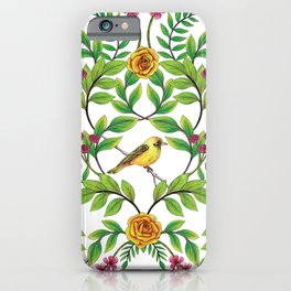 Summer Song - Yellow & Pink Floral Pattern with Birds & Bees iPhone Case