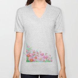 Watercolor cosmos flowers Unisex V-Neck