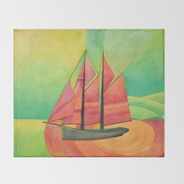 Cubist Abstract Sailing Boat Throw Blanket