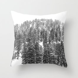 Mountain Snowfall // Snowy Peak Winter Landscape Photography Black and White Art Print Throw Pillow