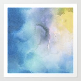 Navy blue teal lavender yellow watercolor brushstrokes Art Print