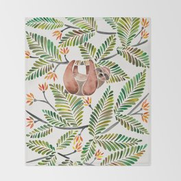 Happy Sloth – Tropical Green Rainforest Throw Blanket