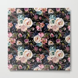 Blush pink teal lilac ivory watercolor modern roses Metal Print