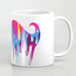 Neon Funny Mustache Melting Yellow Pink Blue Coffee Mug