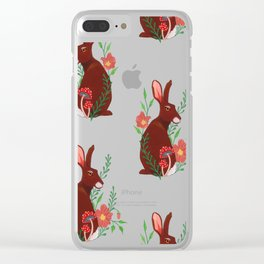 Floral Rabbit Pattern Clear iPhone Case