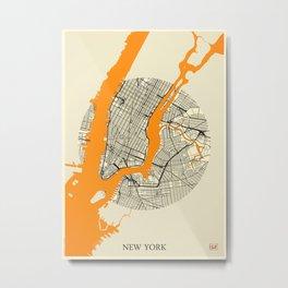 New York Map Moon Metal Print