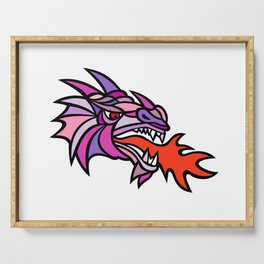 Mosaic Mythical Dragon Breathing Fire Mascot Serving Tray