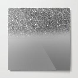 Bullet Gray & Silver Glitter Gradient Metal Print