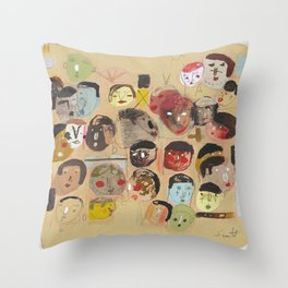 Faces Again Throw Pillow