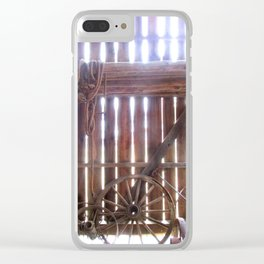 Light Spokes | Wooden wheels in barn with sunlight | Maryland Clear iPhone Case