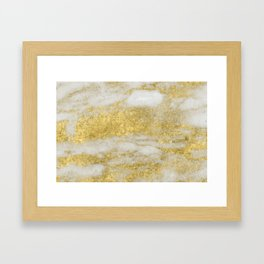 Marble - Glittery Gold Marble and White Pattern Framed Art Print
