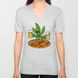 Weed Beer Pizza Stoner Party Unisex V-Neck