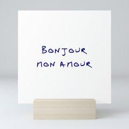 Bonjour mon amour - 7 blue Mini Art Print