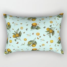 Oranges and Butterflies on Mint Rectangular Pillow