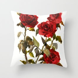 Burgundy Red Roses, deep red floral olive green dark red design roses from garden Throw Pillow