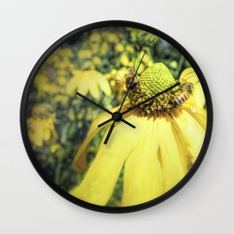 Bees on Yellow Flower Wall Clock