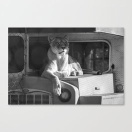 Relaxing on the bus (b&w) Canvas Print