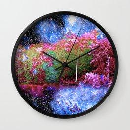 Trees Starry Night Lake Wall Clock