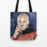 picard Tote Bags featuring Captain Picard by Olechka