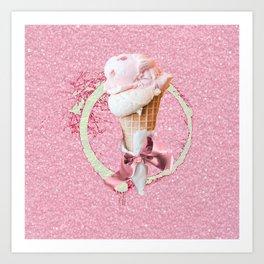 Pink Sugar Icecream Cone Art Print