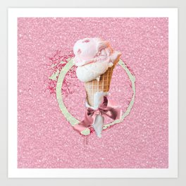 Pink Sugar Icecream Cone Art Print