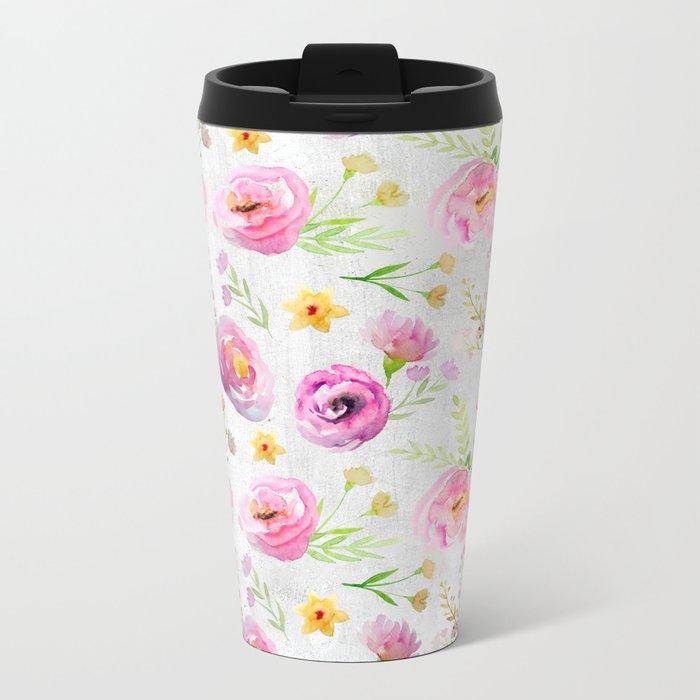 Delicate Poppy Pattern On White Background Metal Travel Mug