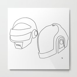 one line drawing black and white of daft punk Metal Print
