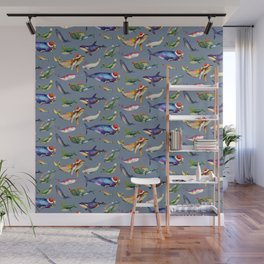 Whales on Holiday by dotsofpaint - Blue Wall Mural