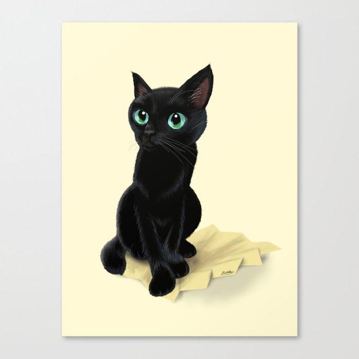 Black little kitty Canvas Print