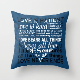 Love is Patient - Navy Blue Throw Pillow