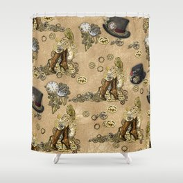 Steampunk Boots Sculptures and Hats on Tan Leather Texture Shower Curtain