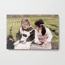 Young girls doodling Metal Print
