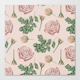 Flower Shop Roses on Blush Pink Canvas Print