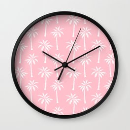 Palm trees pink tropical minimal ocean seaside socal beach life pattern print Wall Clock