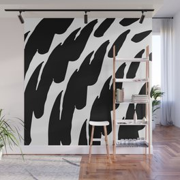 Black Abstract Brush Marks Wall Mural