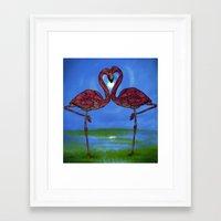 flamingos Framed Art Prints featuring Flamingos by Ben Geiger