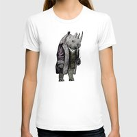 suits T-shirts featuring Animals in Suits - Black Rhino by Katadd