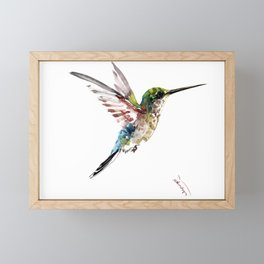 Hummingbird, bird art minimalist bird design hummingbird lover Framed Mini Art Print