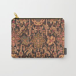 Floral Medallion I // 18th Century Colorful Blue Lime Green Pink Sapphire Plum Burlap Brown Pattern Carry-All Pouch