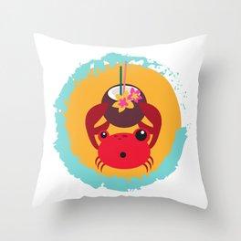 Tropical Crab Throw Pillow