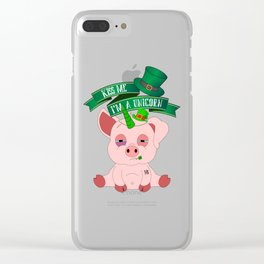 St Patrick's Day Kiss Me I'm A Unicorn Pig Clear iPhone Case