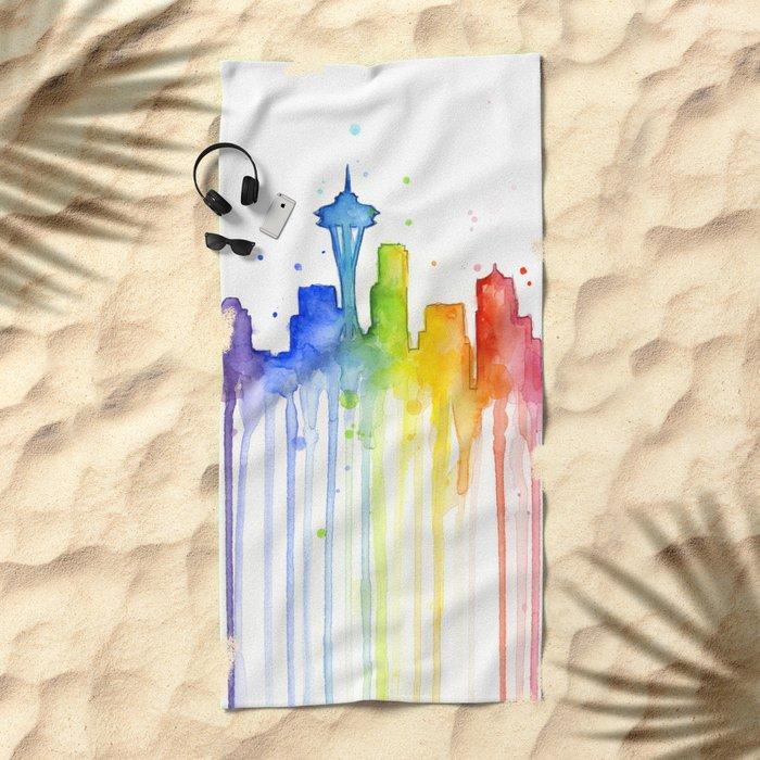 Seattle Skyline Rainbow Watercolor Beach Towel