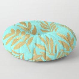 Mint green and gold foil fern Floor Pillow