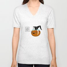 I like warm mugs Unisex V-Neck