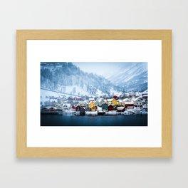 A Small Town in Norwegian Fjords Framed Art Print