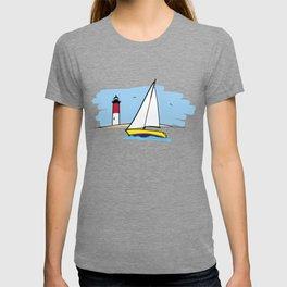 Sailboat Lighthouse and Beach Illustration T-shirt