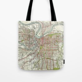 Vintage Map of Kansas City Missouri (1920) Tote Bag