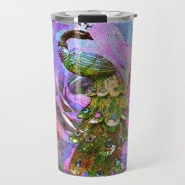 Peacock Watercolor Travel Mug